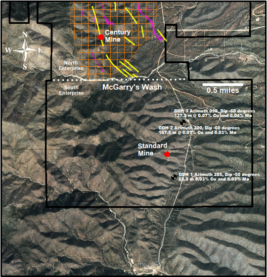 Location Map illustrating A&M Minerals Drill Holes and Standard Mine